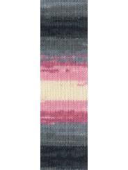 Пряжа Alize LANAGOLD BATIK 1602 (Серый,розовый,белый)