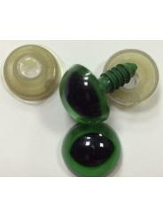 Глазки винтовые круглые «Кошачий глаз» 14 мм зеленый, пластиковый на шайбе