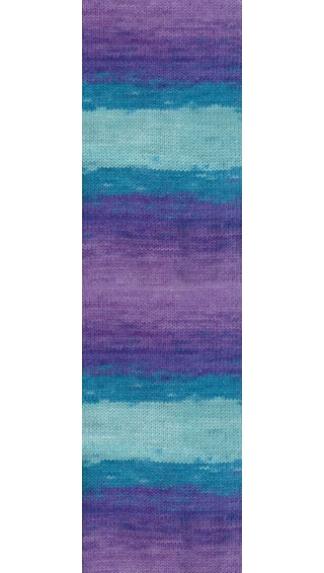 Пряжа Alize LANAGOLD BATIK 3927 (Голубой, бирюзовый, сиреневый)